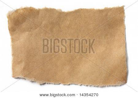 Hin-und hergerissen Packpapier Umwandlung natürlicher Schatten auf weiß.