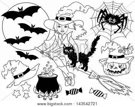 Vector black and white witch set with broomstick cat spider bats moon and pumpkin