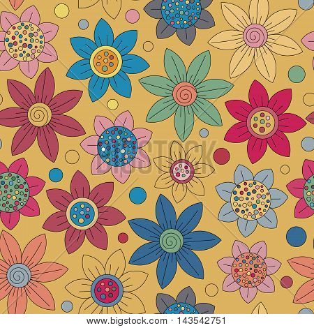 Floral seamless cute pattern simple design. Primitive flowers seamless ornament. Bright flowers on beige background. Vector illustration