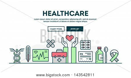 Healthcare colorful concept header flat design thin line style vector illustration