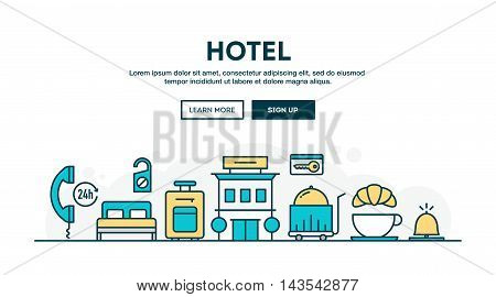 Hotel colorful concept header flat design thin line style vector illustration