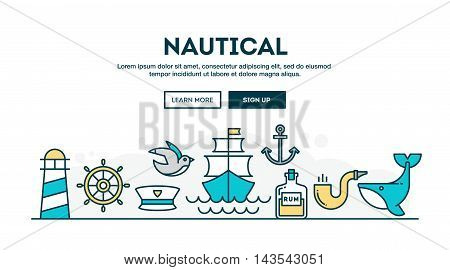 Nautical colorful concept header flat design thin line style vector illustration