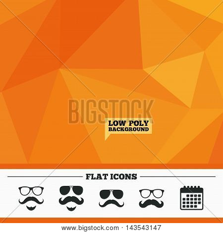 Triangular low poly orange background. Mustache and Glasses icons. Hipster with beard symbols. Facial hair signs. Calendar flat icon. Vector