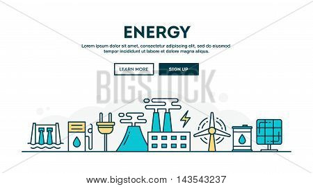 Energy colorful concept header flat design thin line style vector illustration