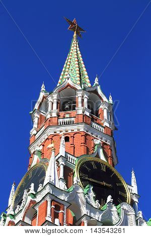 Spasskaya tower of Moscow Kremlin with roman dial clock