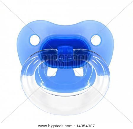 Baby dummy or pacifier or soother, isolated on white.