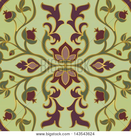 Colorful floral ornament. Template for oriental carpets textiles shawl and any surface. Vector pattern of gold contours on a red background.