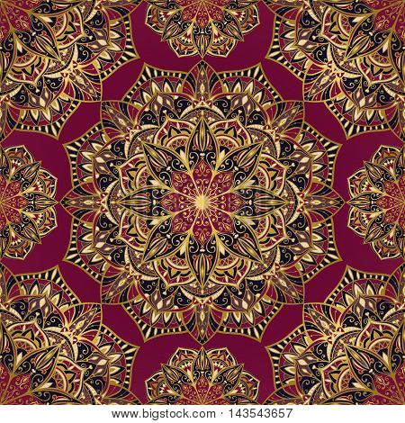Vector seamless bright ornament of mandalas with a gold contour. Oriental colorful ornament. Template for design embroidery textiles shawls carpets wallpapers.
