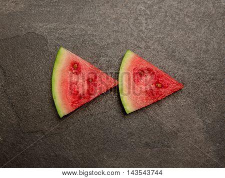 Fresh watermelon rewind forward button slice top view