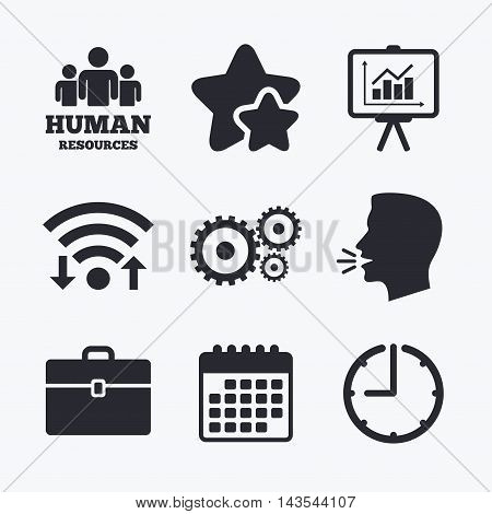 Human resources and Business icons. Presentation board with charts signs. Case and gear symbols. Wifi internet, favorite stars, calendar and clock. Talking head. Vector