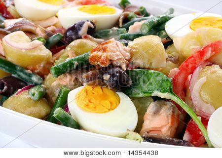 Salad Nicoise ~ traditional French salad with eggs, potatoes, beans, tomatoes, salmon