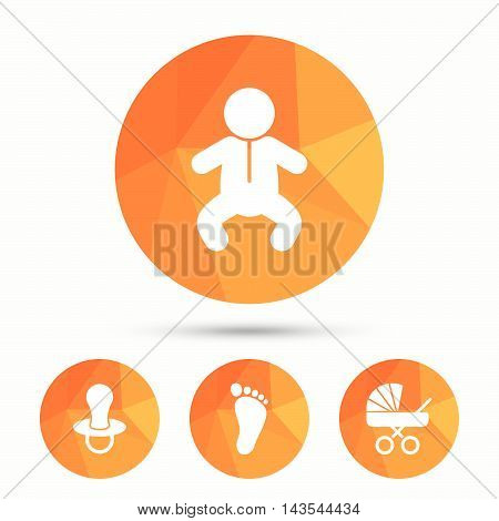 Baby infants icons. Toddler boy with diapers symbol. Buggy and dummy signs. Child pacifier and pram stroller. Child footprint step sign. Triangular low poly buttons with shadow. Vector