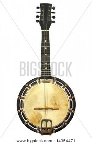 Old banjo mandolin, well isolated on white.  Early 20th century instrument, with some missing strings.