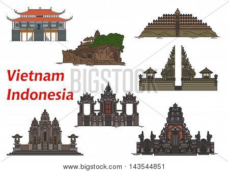 Ancient vietnamese buddhist Vinh Nghiem Pagoda symbol with indonesian buddhist Borobudur and Pulaki Temples, complex of temples Pura Besakih, Tanah Lot Temple, Pura Rambut Siwi and Petitenget Temple
