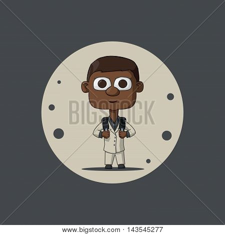 African American child in a white suit with a briefcase. The first time in first class. Illustration Vector