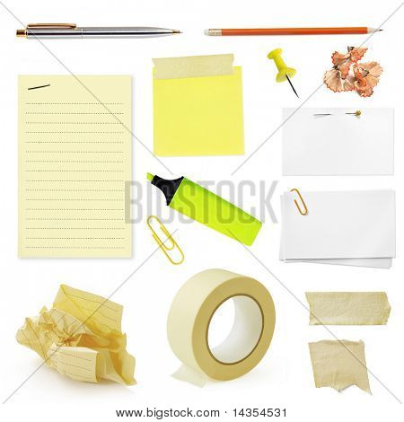 Collection of office stationery, isolated on white.