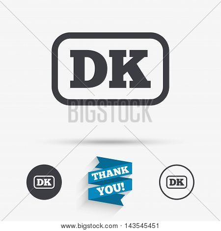 Denmark language sign icon. DK translation symbol with frame. Flat icons. Buttons with icons. Thank you ribbon. Vector