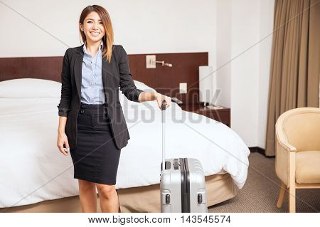 Beautiful Businesswoman In A Hotel Room