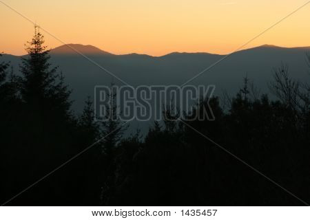 Spain. Sunset In The Mountains.