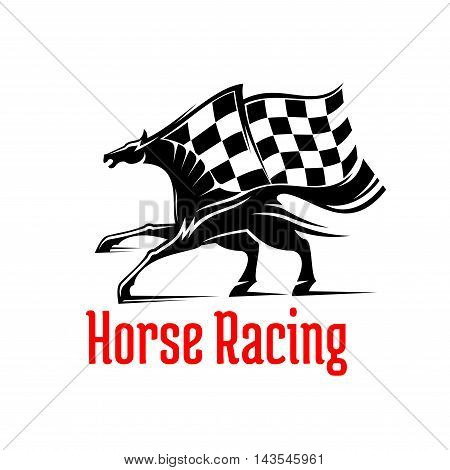 Galloping racehorse black and white silhouette for equestrian sporting competition design supplemented by racing checkered flag above and caption Horse Racing