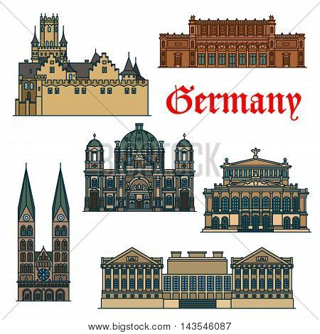 Cultural, religious and historical travel landmarks of Germany icon with thin line Berlin and St. Peter Cathedrals, Alte Oper Concert Hall, gothic Marienburg Castle, Pergamon and Kunsthalle museums