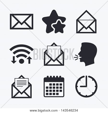 Mail envelope icons. Message document symbols. Post office letter signs. Wifi internet, favorite stars, calendar and clock. Talking head. Vector