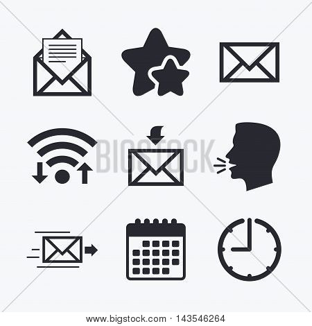 Mail envelope icons. Message document delivery symbol. Post office letter signs. Inbox and outbox message icons. Wifi internet, favorite stars, calendar and clock. Talking head. Vector