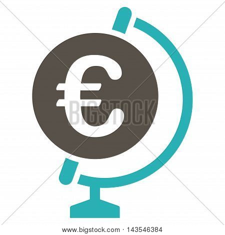 Euro Globe icon. Vector style is bicolor flat iconic symbol with rounded angles, grey and cyan colors, white background.