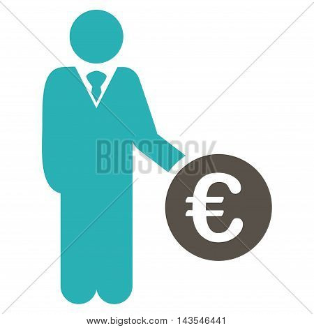 Euro Investor icon. Vector style is bicolor flat iconic symbol with rounded angles, grey and cyan colors, white background.