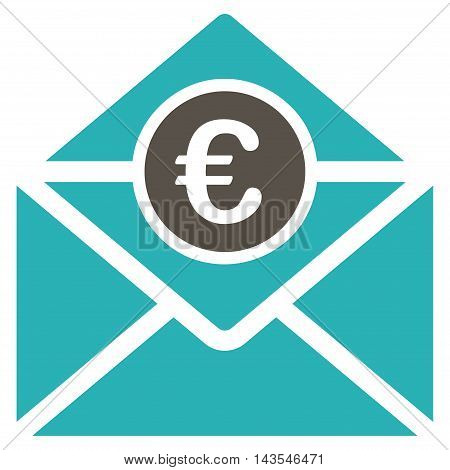 Euro Mail icon. Vector style is bicolor flat iconic symbol with rounded angles, grey and cyan colors, white background.