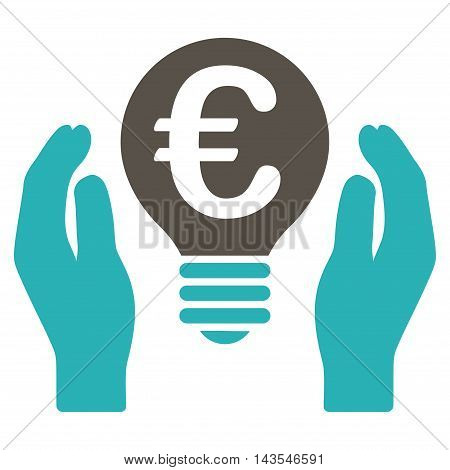 Euro Patent Care icon. Vector style is bicolor flat iconic symbol with rounded angles, grey and cyan colors, white background.