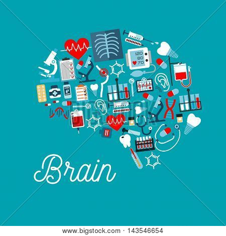 Medical icons in a shape of human brain with pills, syringes, thermometers, stethoscopes, hearts, blood bags, teeth, dentistry tools, microscopes, DNA, chest x-ray, ecg and medical checkup forms