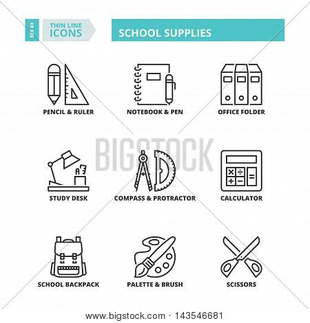 Thin Line Icons. School Supplies
