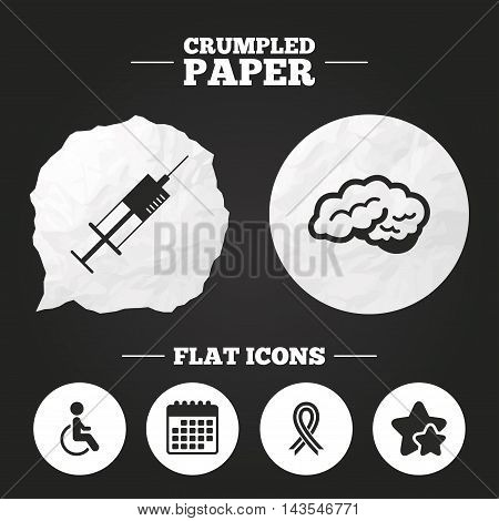 Crumpled paper speech bubble. Medicine icons. Syringe, disabled, brain and ribbon signs. Breast cancer awareness symbol. Handicapped invalid. Paper button. Vector