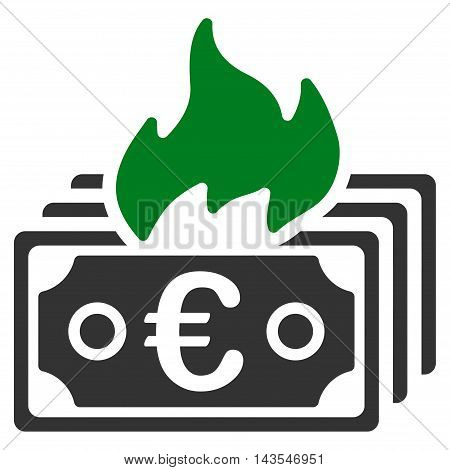 Burn Euro Banknotes icon. Vector style is bicolor flat iconic symbol with rounded angles, green and gray colors, white background.