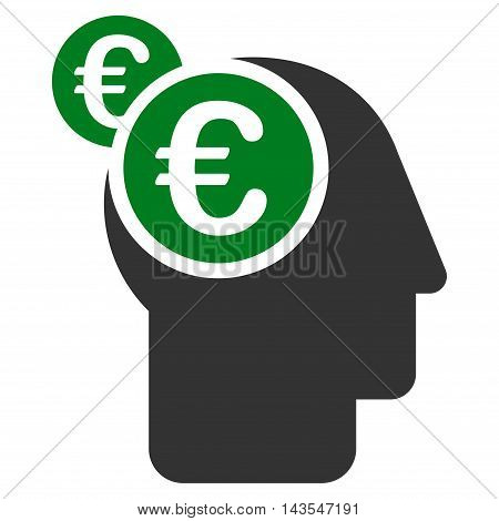 Euro Businessman Intellect icon. Vector style is bicolor flat iconic symbol with rounded angles, green and gray colors, white background.