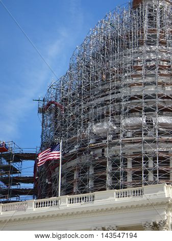 Dome of capitol hill with scaffolding during construction