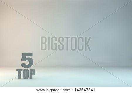 top 5 on background.3d illustration