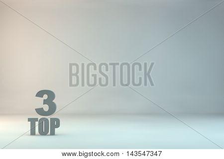 top 3 on background.3d illustration