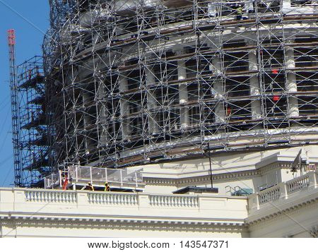 scaffolding on Capitol Hill during construction project