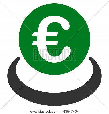 Euro Deposit icon. Vector style is bicolor flat iconic symbol with rounded angles, green and gray colors, white background.