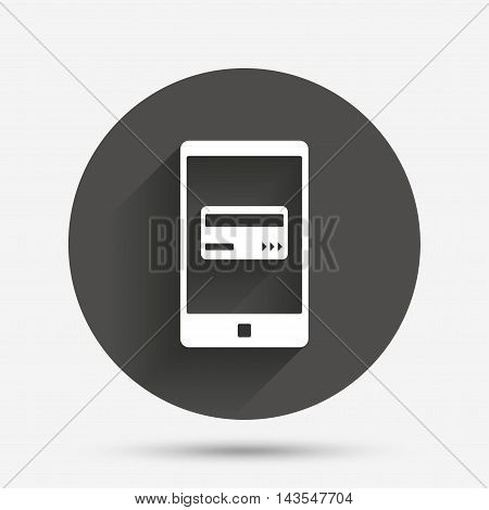 Mobile payments icon. Smartphone with credit card symbol. Circle flat button with shadow. Vector