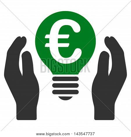 Euro Patent Care icon. Vector style is bicolor flat iconic symbol with rounded angles, green and gray colors, white background.
