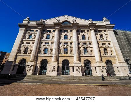 Milan Stock Exchange In Milan (hdr)