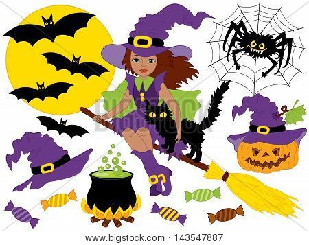 Vector African American witch sitting on broomstick with cat spider bats moon and pumpkin