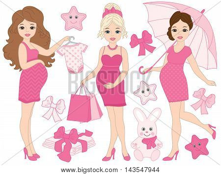 Vector pregnant women set with baby's clothes and toys in pink color