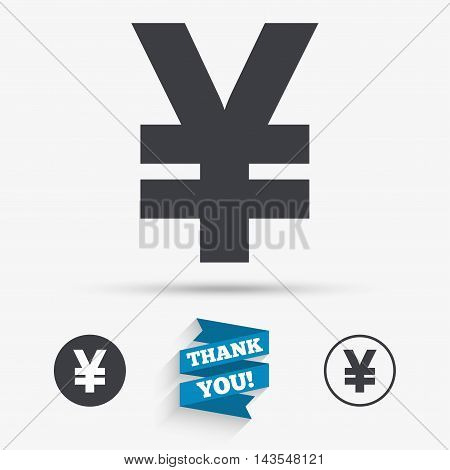 Yen sign icon. JPY currency symbol. Money label. Flat icons. Buttons with icons. Thank you ribbon. Vector