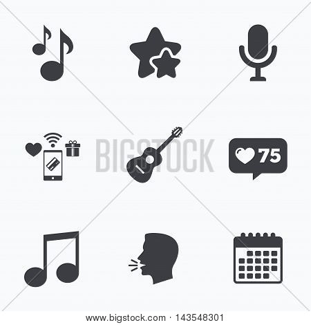 Music icons. Microphone karaoke symbol. Music notes and acoustic guitar signs. Flat talking head, calendar icons. Stars, like counter icons. Vector