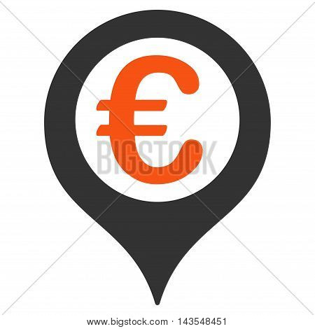 Euro Geotargeting icon. Vector style is bicolor flat iconic symbol with rounded angles, orange and gray colors, white background.