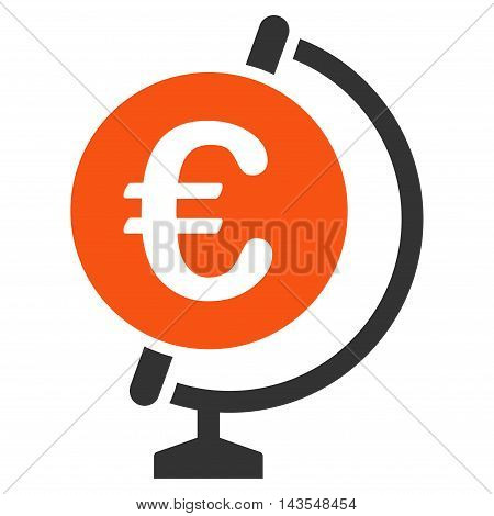Euro Globe icon. Vector style is bicolor flat iconic symbol with rounded angles, orange and gray colors, white background.